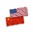 flags china and america on a white background vector image