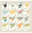 Flat design animals icon set Zoo children vector image vector image