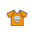 full color rock t-shirt with skull design casul vector image