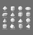 geometric 3d shapes realistic white basic vector image