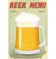 glass beer vintage background vector image vector image