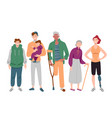 group diverse people mixed age standing vector image vector image