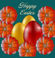 happy easter isolated on blue background vector image vector image