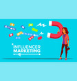 influencer digital marketing web banner vector image