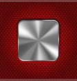 metal square plate on red perforated background vector image vector image