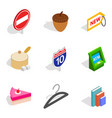 morning business icons set isometric style vector image