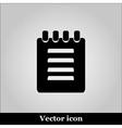 Notebook icon on grey background vector image
