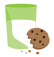 Partially Eaten Cookie and Milk vector image vector image