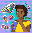 pop art african girl with drink vector image