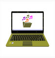 realistic laptop display music media player vector image vector image