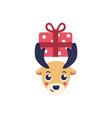 reindeer head holding vector image vector image