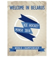 Retro poster for the World Hockey Championship vector image vector image