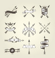 set of coat of arms with bow arrows - emblems vector image