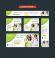 set of professional green and white web banners vector image