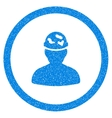 Soldier Under Spotted Helmet Rounded Icon Rubber vector image vector image