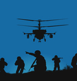 soldiers going to attack and helicopters vector image vector image