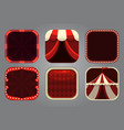 square app icons in circus style festive frames vector image