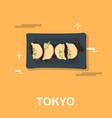 steamed dumplings in tokyo design vector image