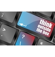 think outside the box words message on enter key vector image vector image