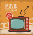 vintage movie night television card concept vector image vector image