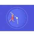 Woman hangs on the big arrow of the life watch vector image vector image