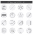 Back to School icon set school building pen pensil vector image