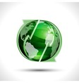 Green globe with arrows vector image