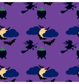 Witch and moon seamless pattern vector image