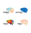 collection of abstract brain logo template vector image
