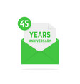 45 years anniversary missive in dark green letter vector image vector image