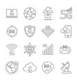 5g technology icons set 5th generation mobile vector image vector image