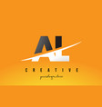 al a l letter modern logo design with yellow vector image vector image