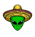 alien in sombrero isolated on white background vector image