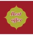 best offer banner - 3d spring green flower label vector image vector image