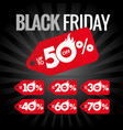 black friday discount red label hot sale vector image