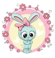 Bunny with flowers on a pink background vector image