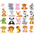 cartoon animals collection set vector image vector image
