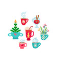 Christmas set of winter drinks flat icon
