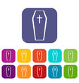 coffin icons set vector image vector image