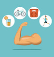 color background with muscle arm with icons in vector image