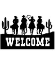 cowboys driving horses silhouette american desert vector image