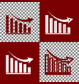 declining graph sign bordo and white vector image vector image