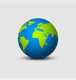 earth globe isolated with shadow in flat design vector image vector image