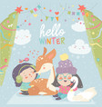 funny cartoon girls with cute deer in winter vector image vector image