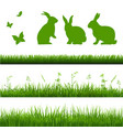 grass borders set with rabbits vector image