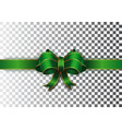 green ribbon with a bow on a transparent vector image vector image