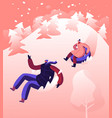 happy people going downhills snowy slopes on vector image vector image