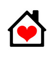 house icon with heart vector image vector image