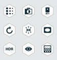 image icons set with monochrome vignette remove vector image vector image