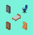 isometric design set of sideboard cupboard vector image vector image